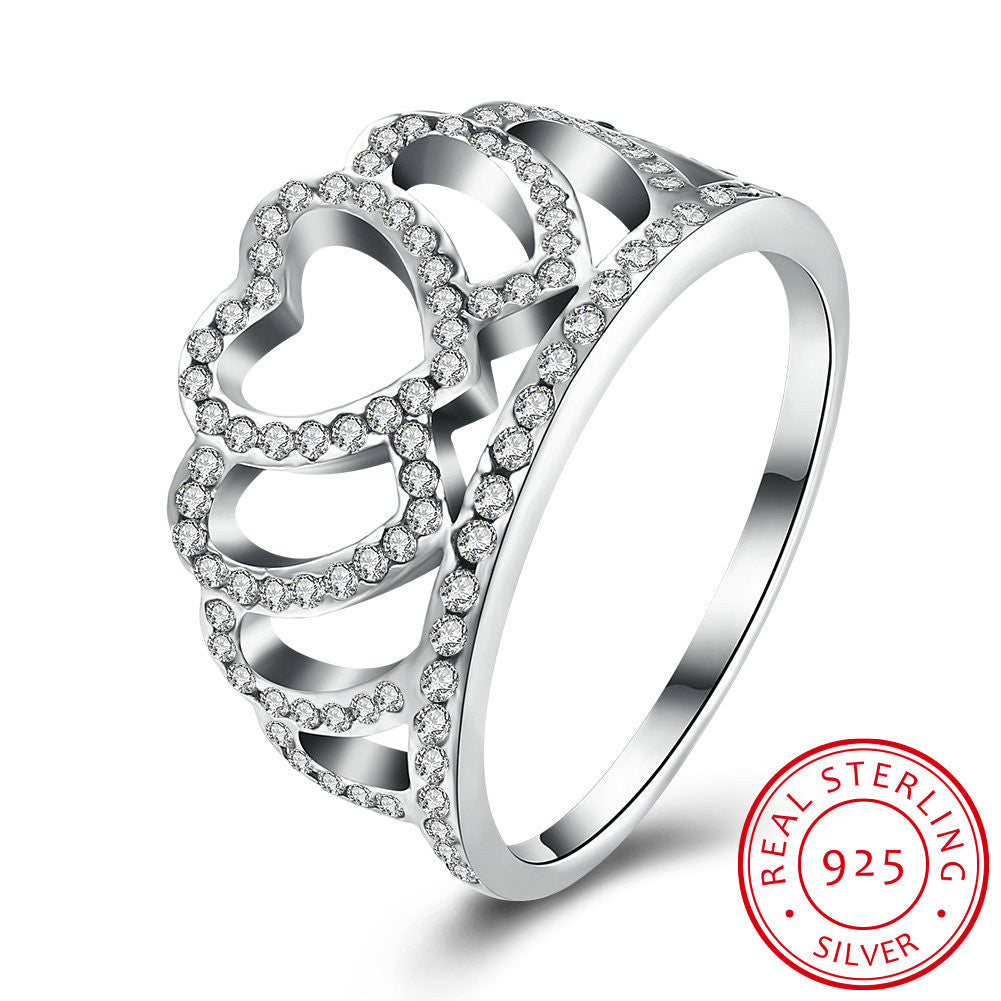 925 Sterling Silver Ring Women' s Heart - shaped crown diamond ring