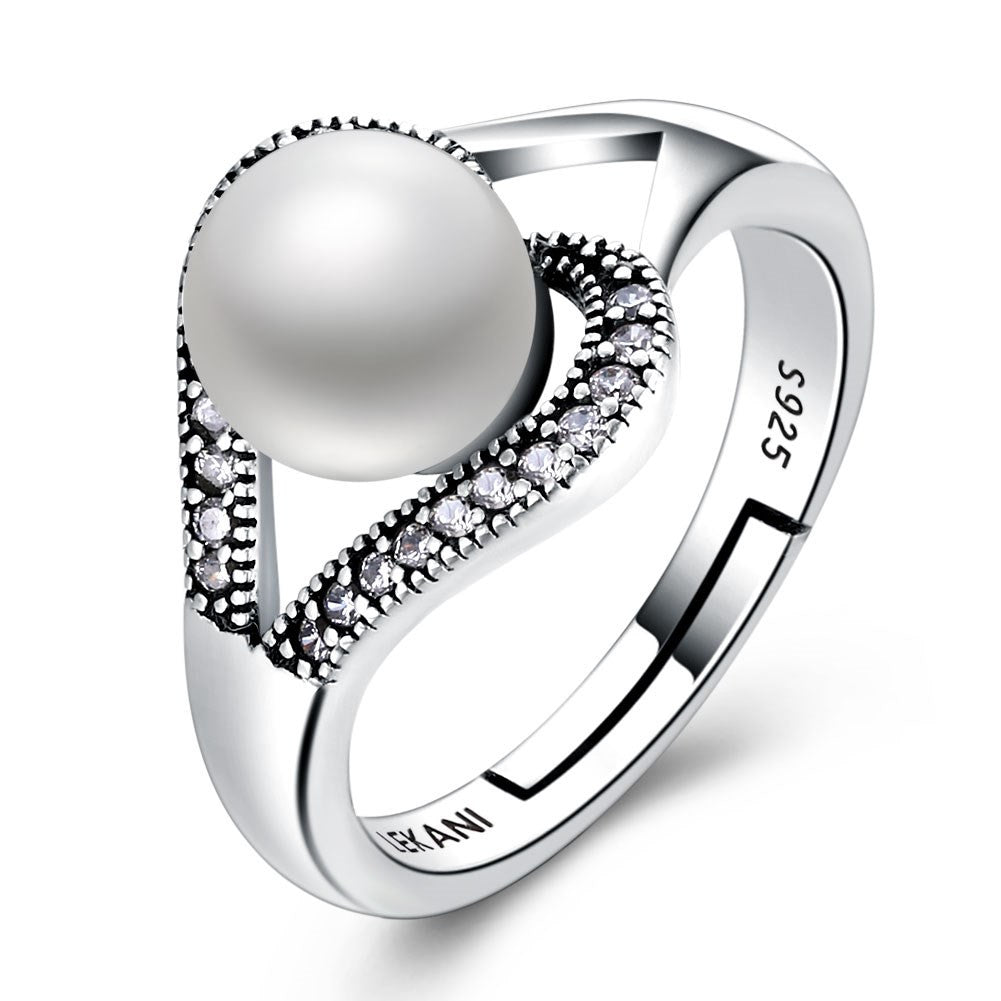 925 Sterling Silver Ring Pearl series retro heart adjustable ring