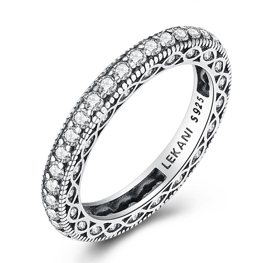 925 Sterling Silver Ring Retro style zirconium rings