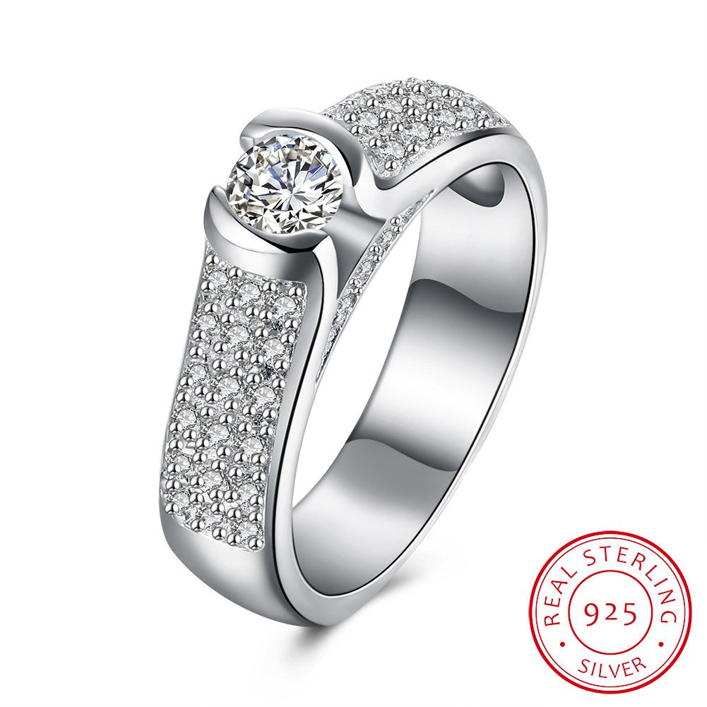 925 Sterling Silver Ring Simple fashion and flat ring, exquisite romantic diamond ring