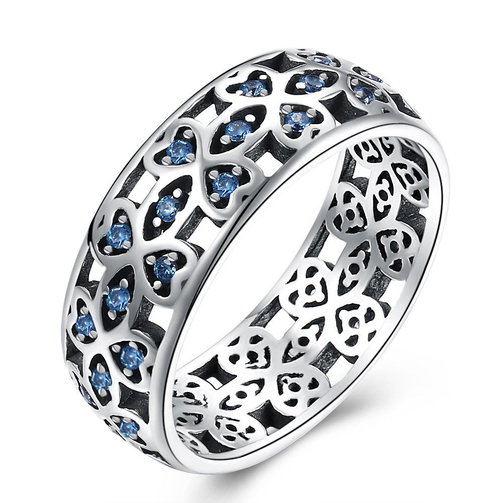 925 Sterling Silver Ring Retro wind blue zirconium ring