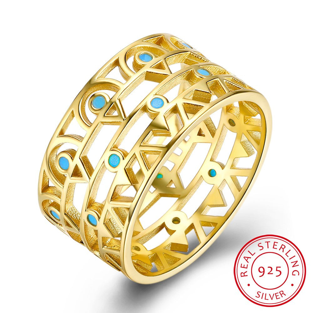 925 Sterling Silver Ring Turquoise gold ring fashion Sterling Silver Ring