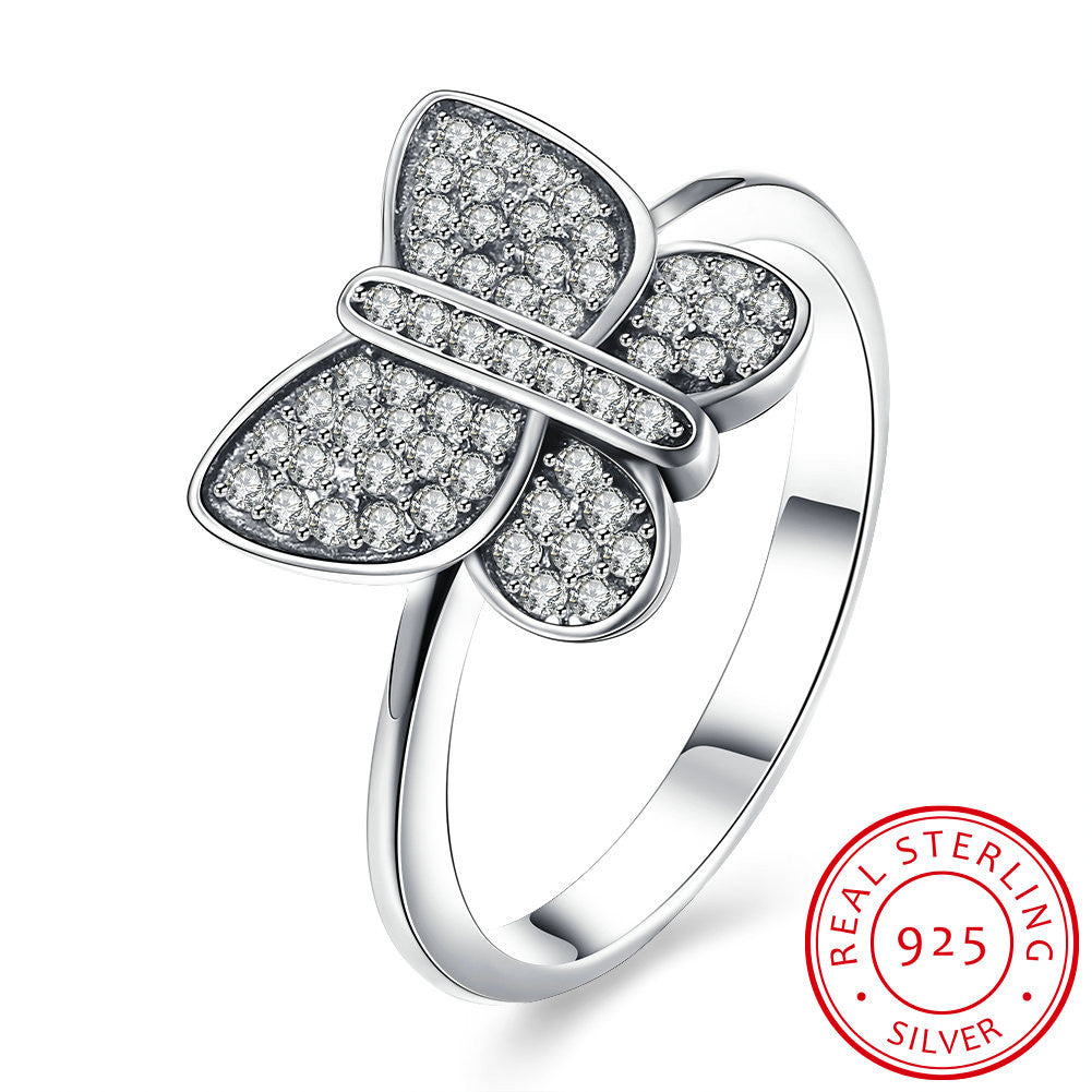 925 Sterling Silver Ring The butterfly shaped diamond ring ladies