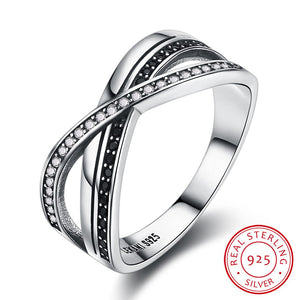 925 Sterling Silver Ring Stylish stylistic pure silver retro style interlaced diamond X-shaped ring