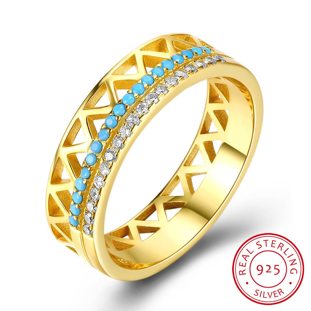 925 Sterling Silver Ring Double row turquoise zircon fashion gold sterling silver ring