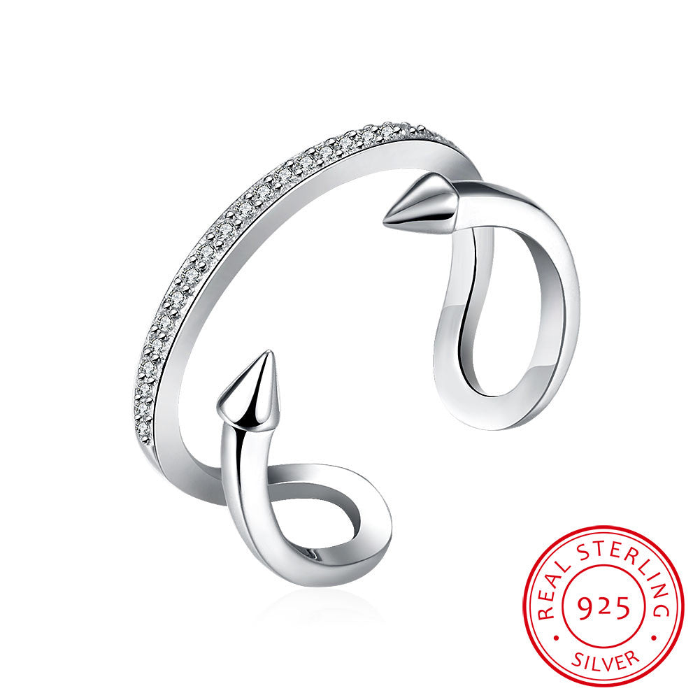 925 Sterling Silver Ring Two - line open ring jewelry wholesale jewelry