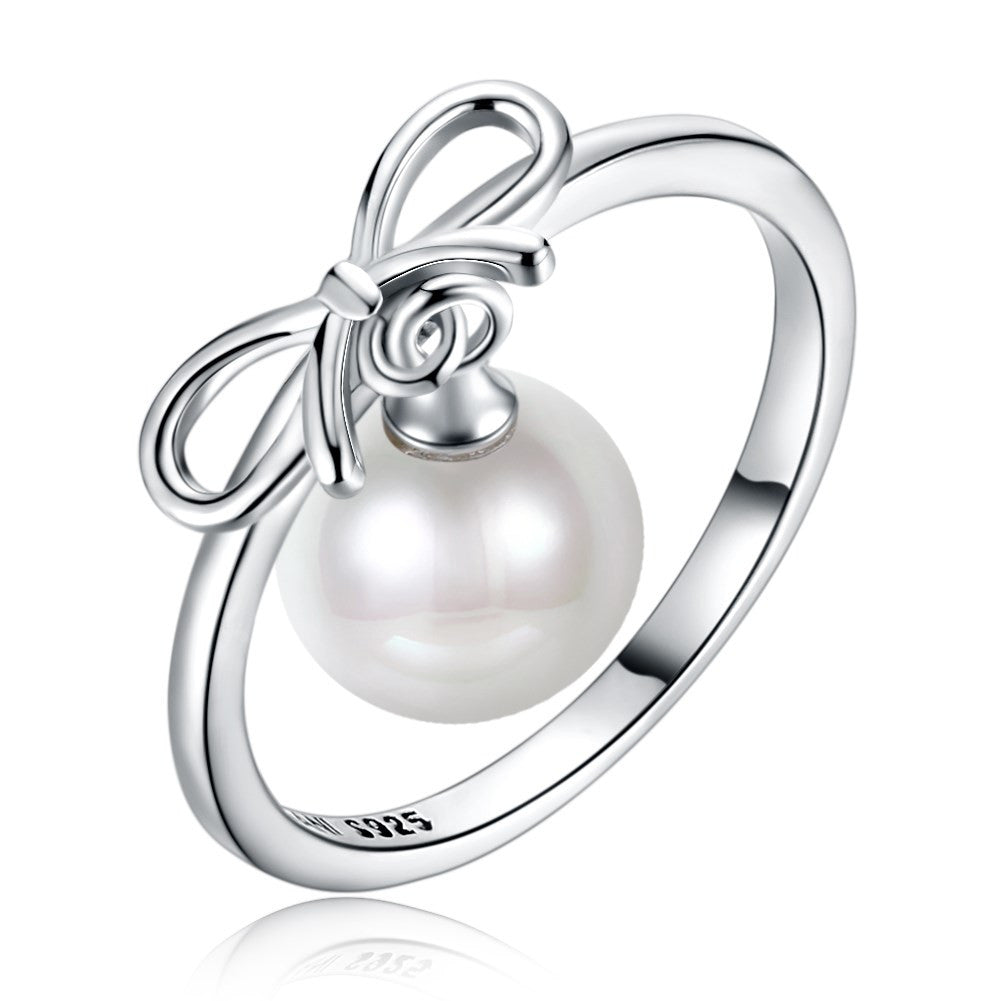 925 Sterling Silver Ring Pearl series retro wind bow ring