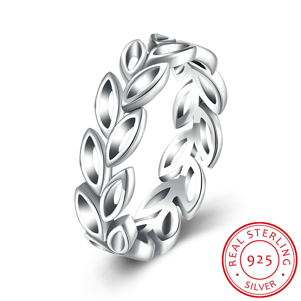 925 Sterling Silver Ring Olive branch hollow ring women's