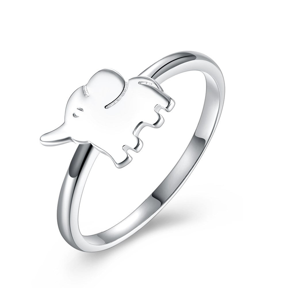 925 Sterling Silver Ring Lovely elephant design romantic sweet wind jewelry
