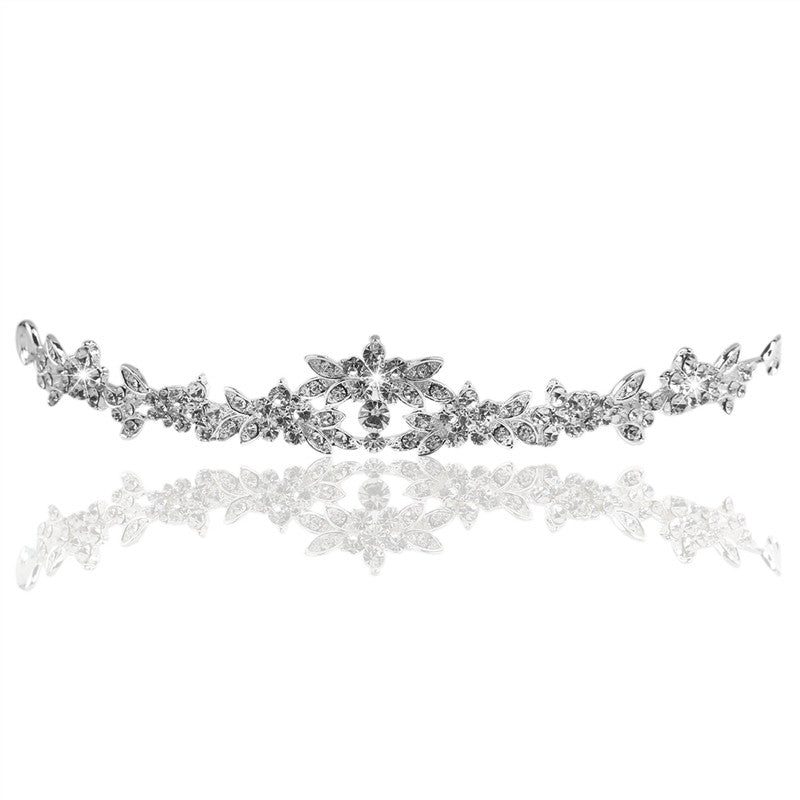 Wedding Style Rhinestone Decor Bride Crown Hair Barrettes /Hairband /Hair Clip /Hair Loop (Sliver)