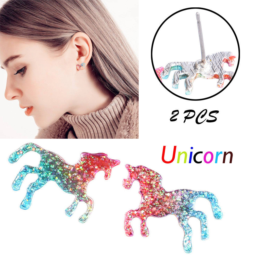 1 Pair Horse Earrings Decor Shining Unicorn Earrings Studs Cute Jewelry Girls