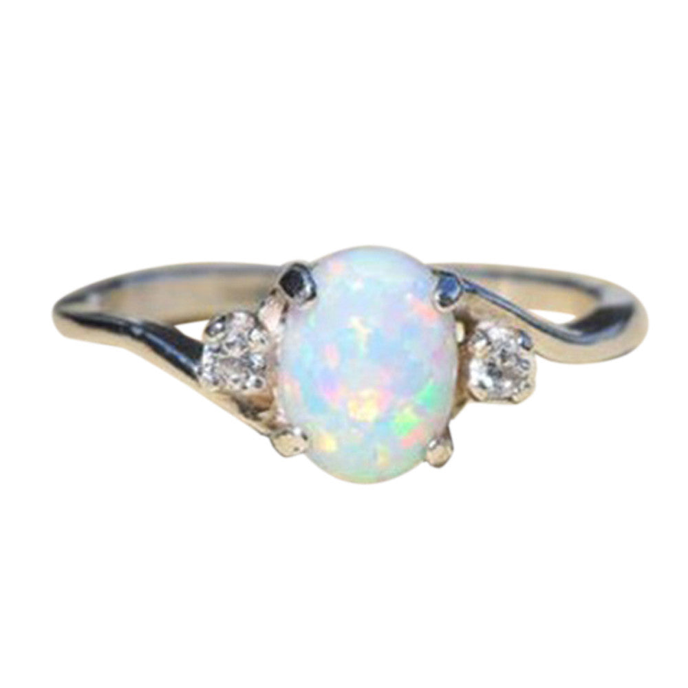 Exquisite Women's Sterling Silver Ring Oval Cut Fire Opal Diamond Band Rings