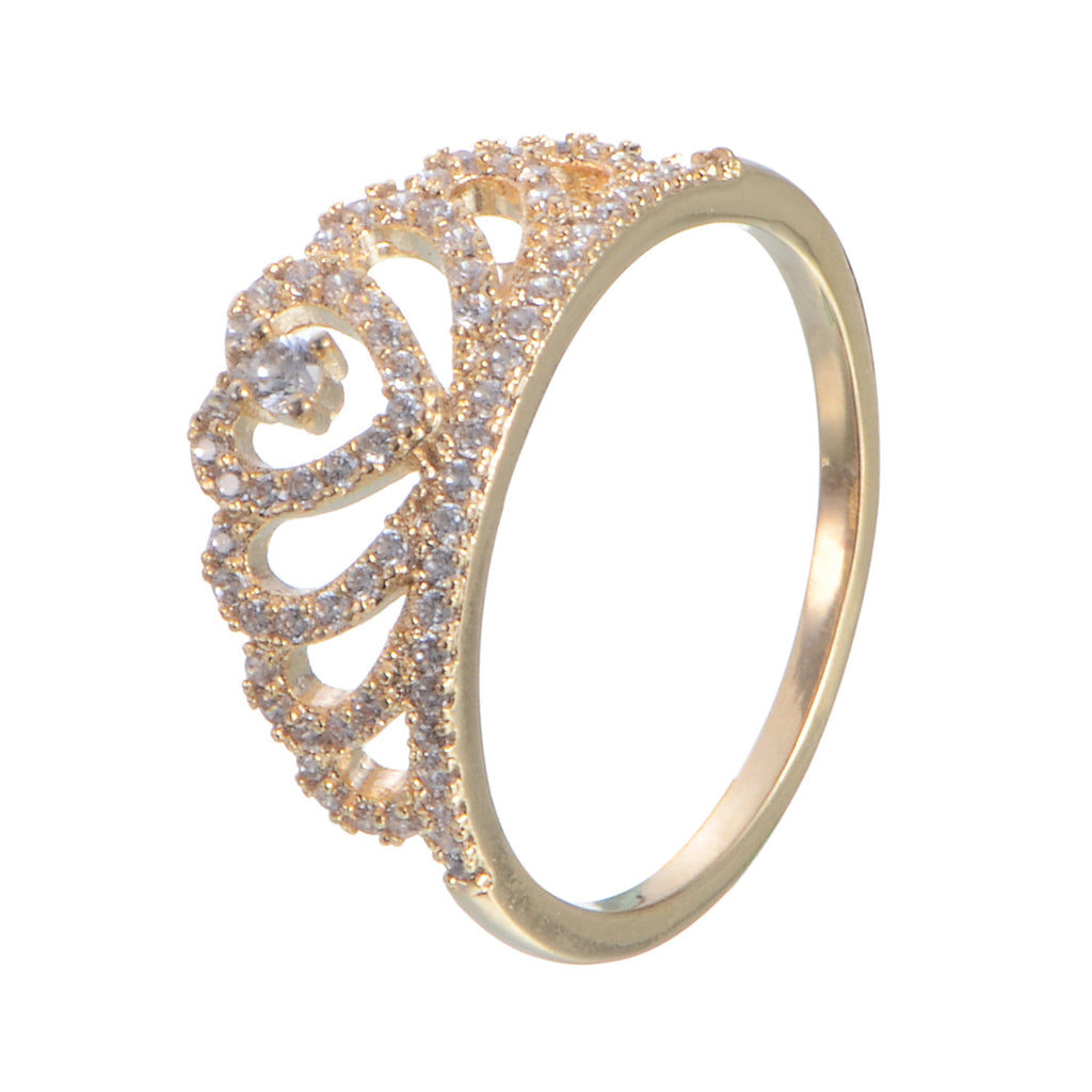 Crown Copper Zirconia Ring 18K Gold/Platinum Plated