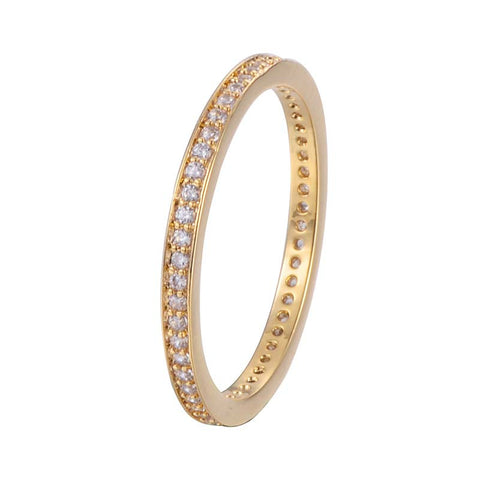 Circle Round Paved Copper Ring With Zirconia 18K Gold/Platinum Plated