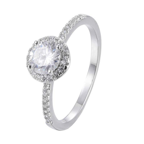 Clasic Round Princess Ring With Copper Zirconia 18K Gold/Platinum Plated