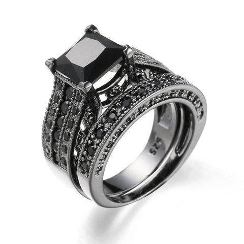 2-in-1 Womens Vintage Black Diamond Silver Engagement Wedding Band Ring Set