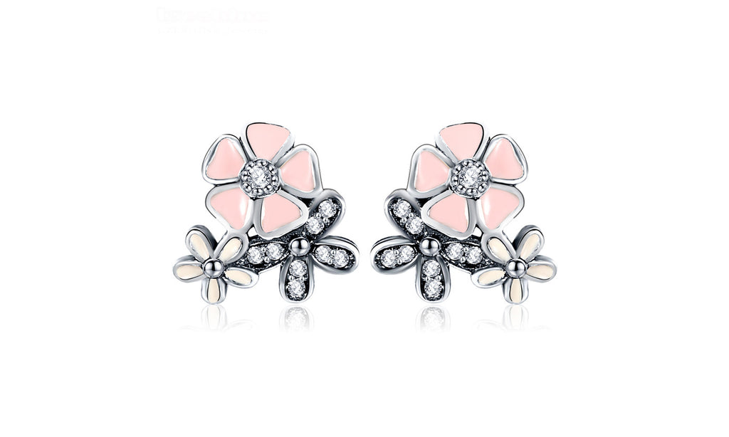 Authentic 925 Sterling Silver CZ Pink Engagement Stud Earrings For Women