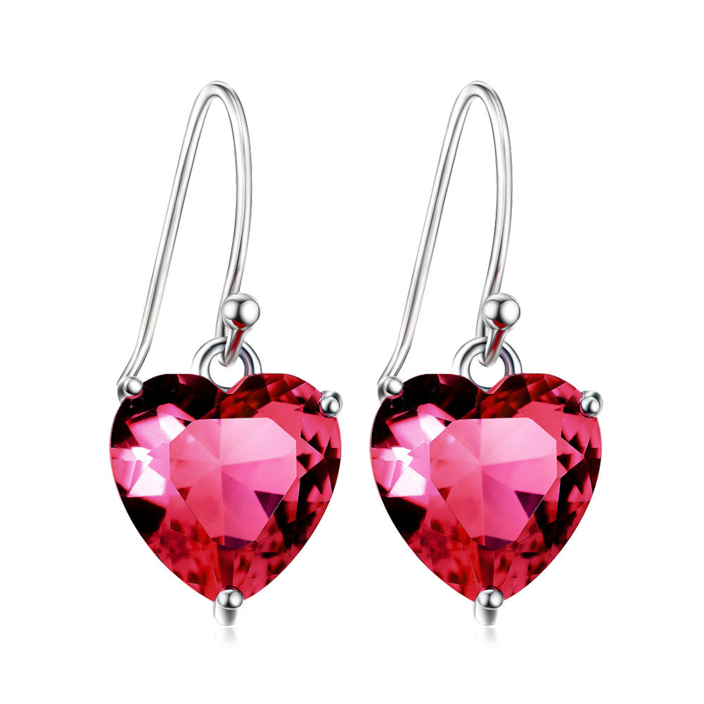 925 sterling silver jewelry Austrian crystal earrings Necklace love endless heart-shaped earrings Valentine's Day gift