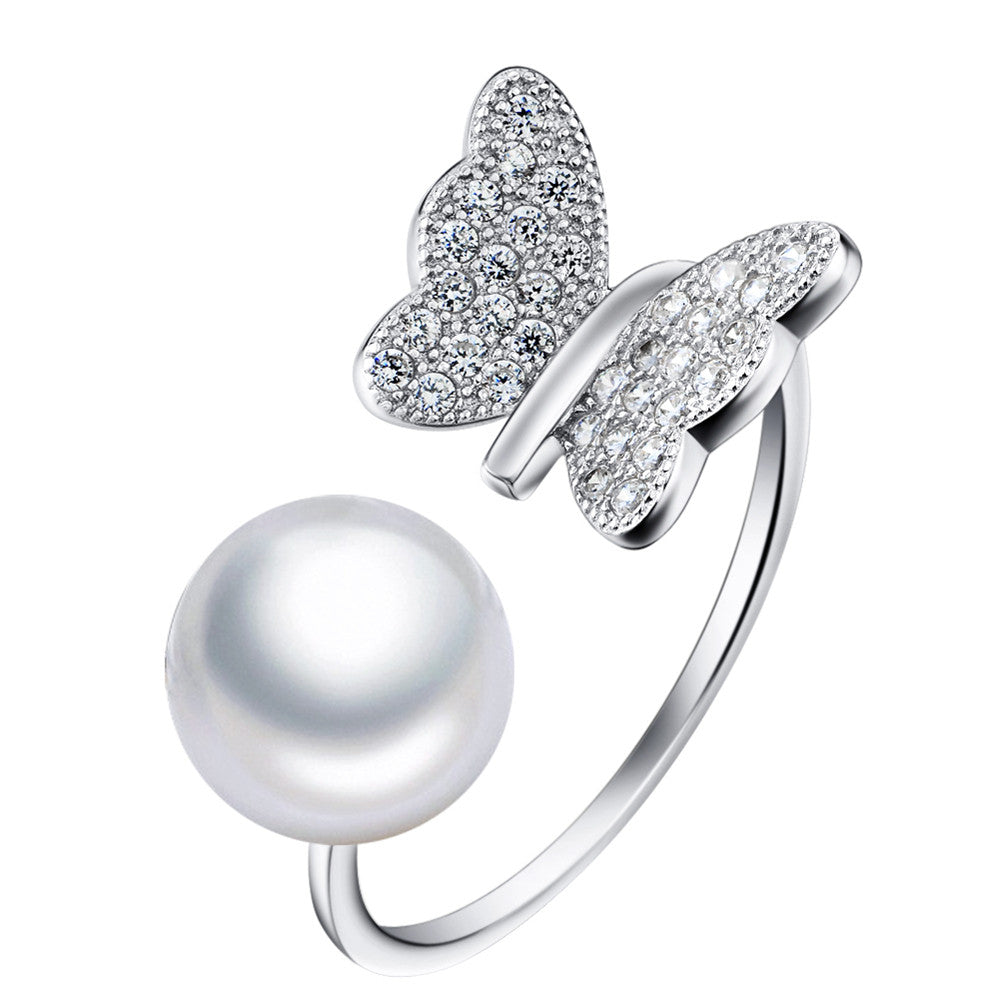 Empty silver ring S925 sterling silver ring South Korea butterfly micro inlaid zircon full diamond silver foreign trade pearl jewelry