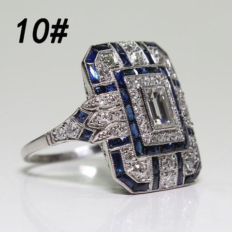 Fashion Women Crystal Silver Cubic Zirconia Band Ring Jewelry Gift