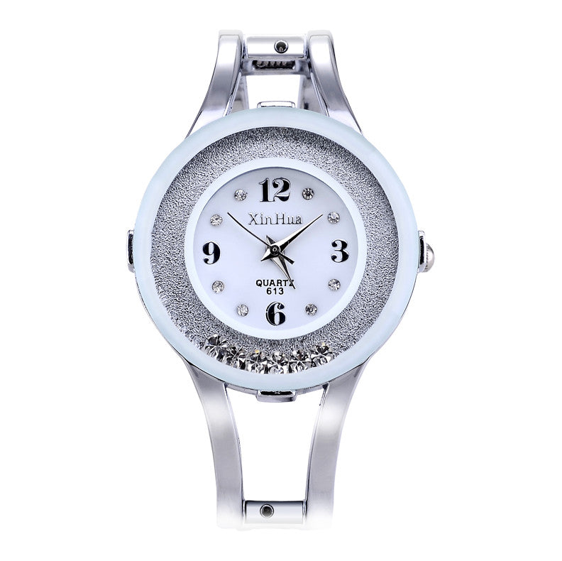 Fashion Full Steel Bracelet Watch Women Rhinestone Watch Female Clock