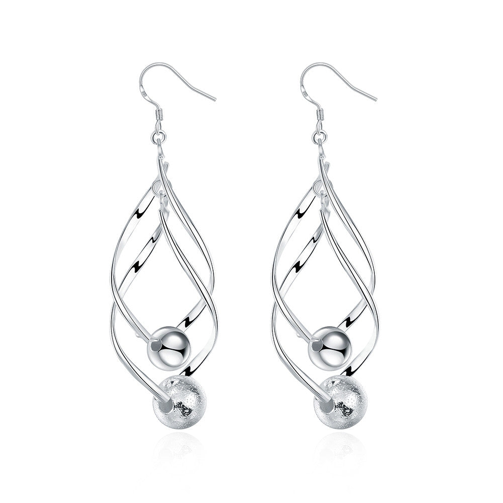 18K White Gold Plated Interlocking Spiral Earring with Pearls