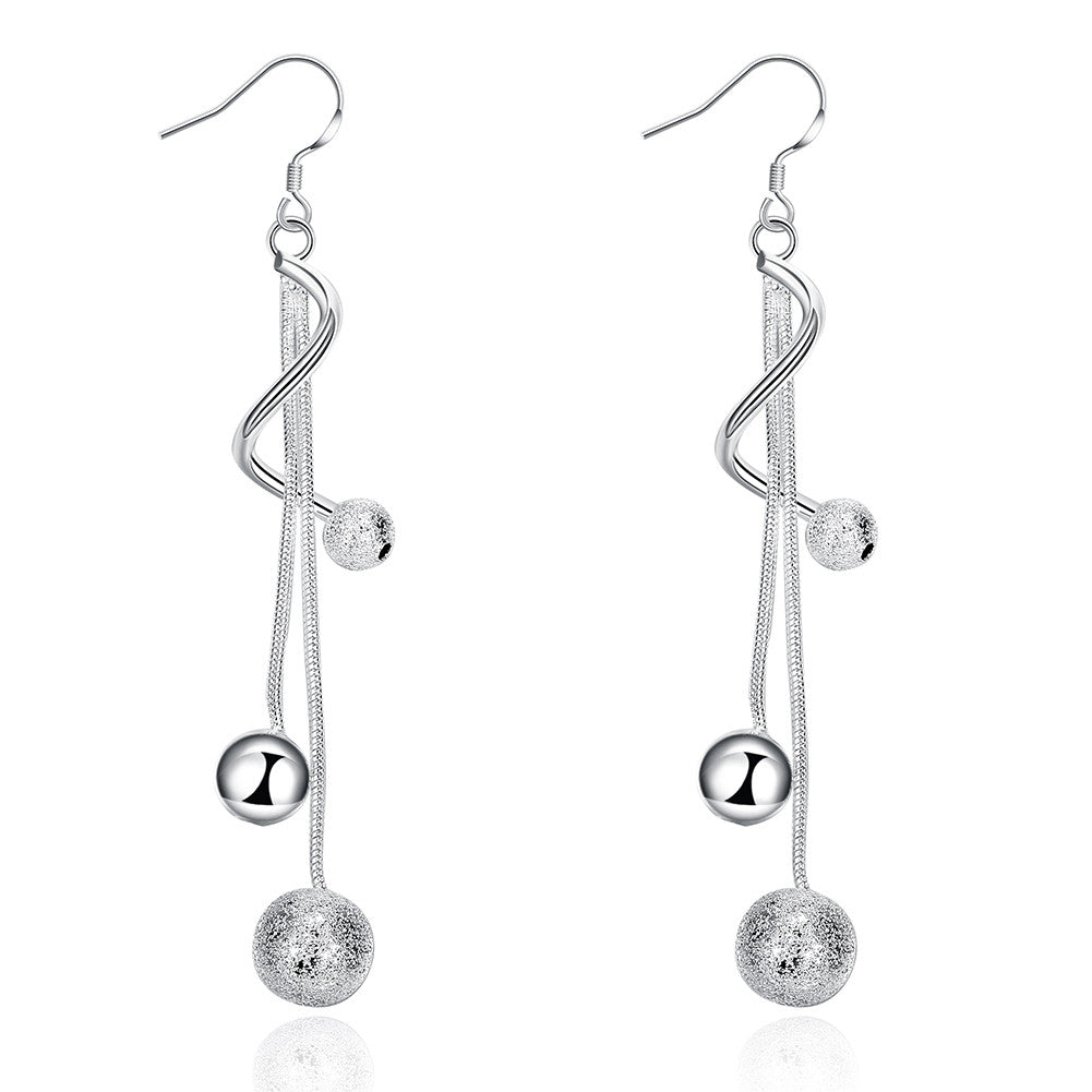 18K White Gold Plated Spiral Modern Twist Pearl Earring