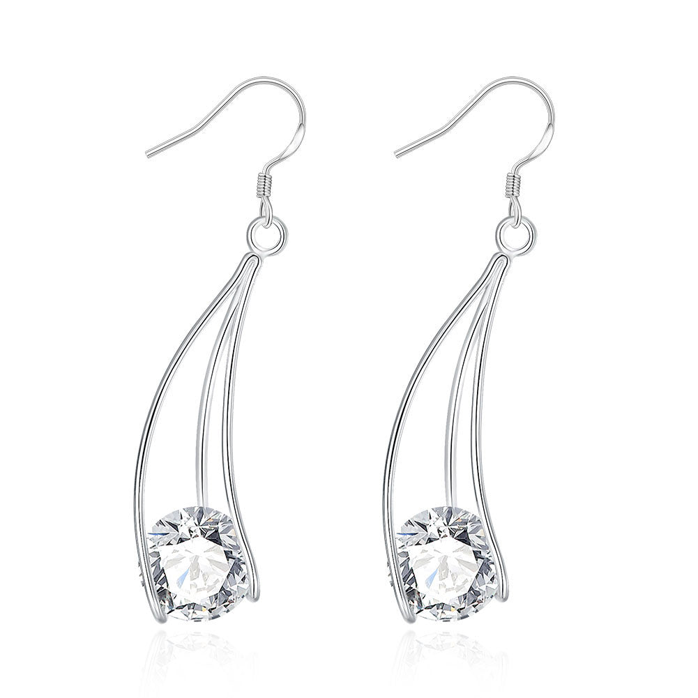 18K White Gold Plated Drop Crystal Earring