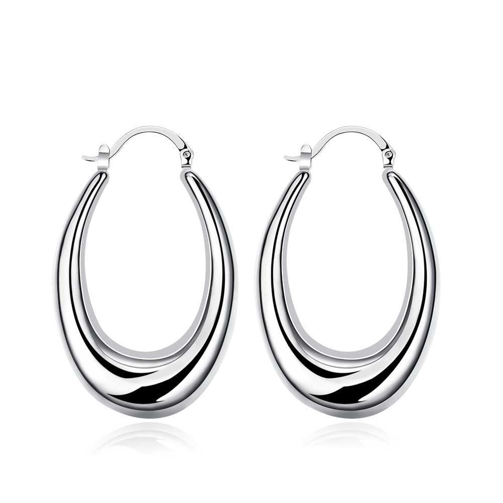 18K White Gold Plated Modern Twist Hoops