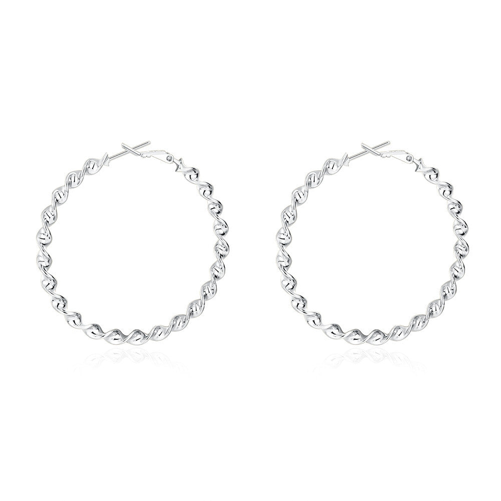 18K White Gold Plated Curved Wired Hoops