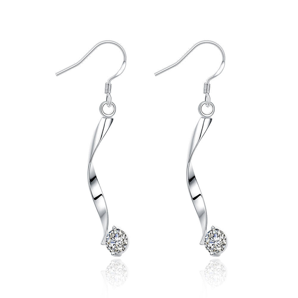 18K White Gold Plated Spiral Drop Crystal Earring