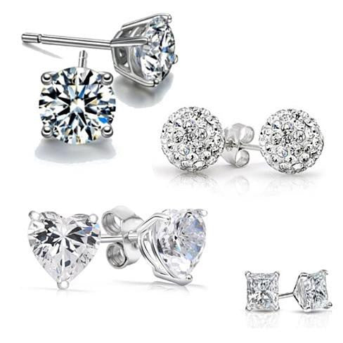 4 Pack: Austrian Crystal Sterling Silver Earrings
