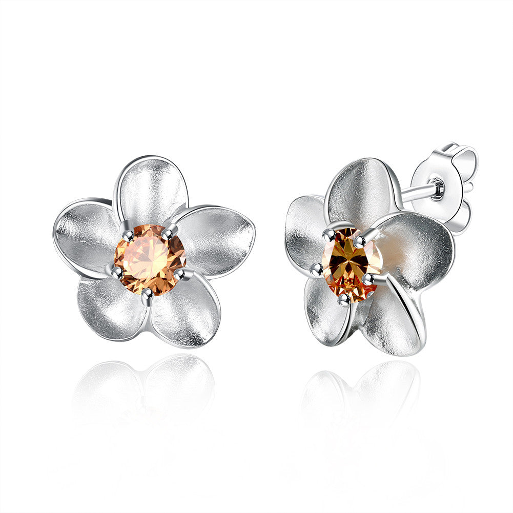 18K White Gold Plated Orange Citrine Ivory Onyx Floral Earring