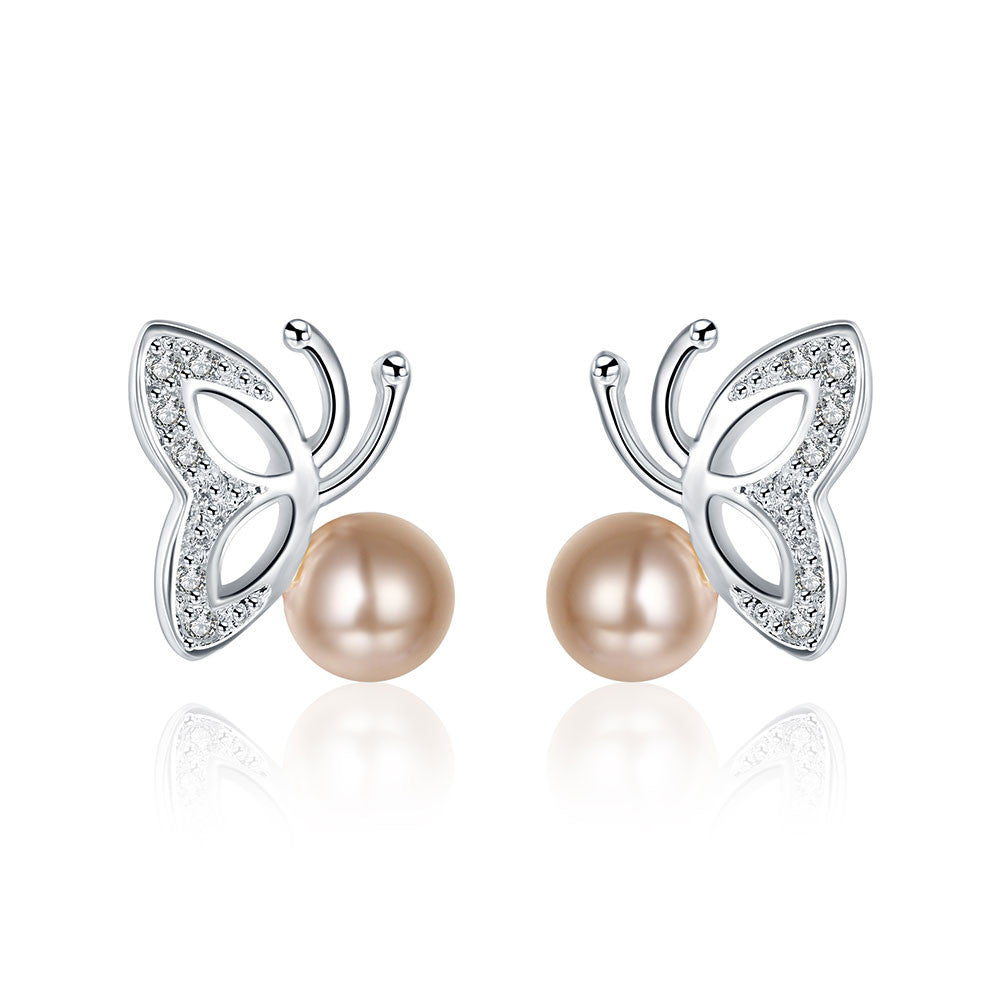 18K White Gold Plated Wings & Coral Pearl Earring