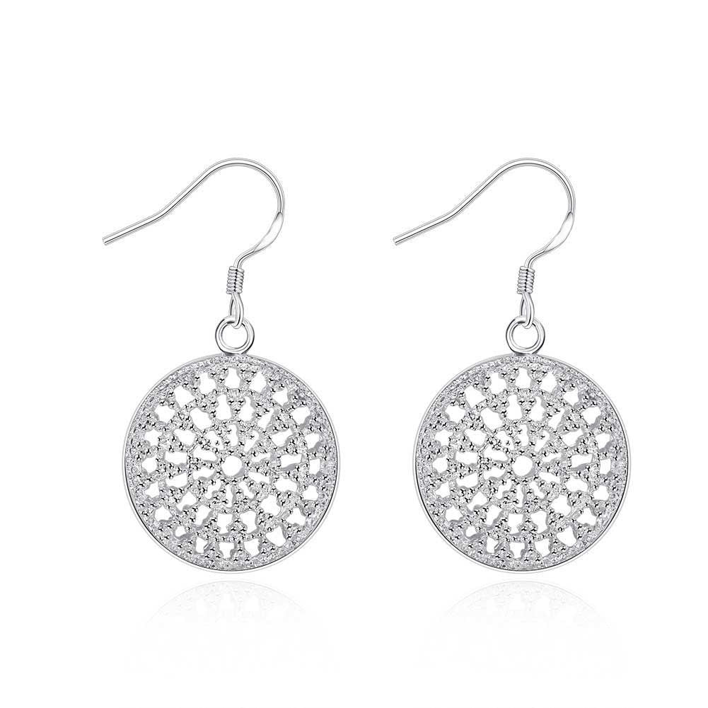 18K White Gold Plated Circular Pendant Earring