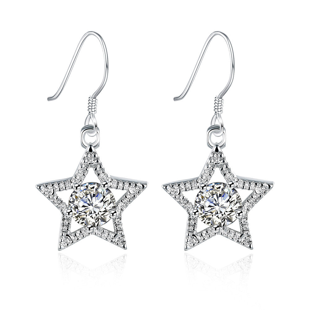 18K White Gold Plated Star Shape with Crystal Inlay Earring