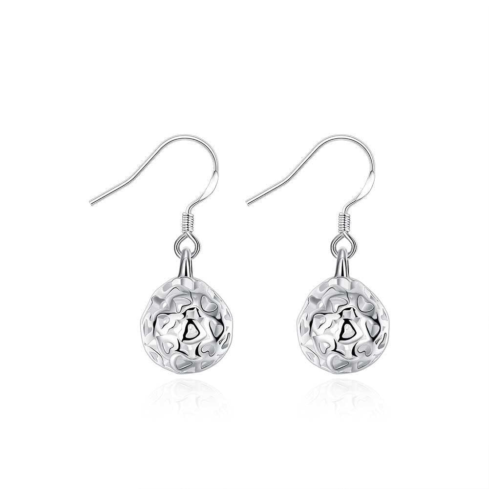 18K White Gold Plated Laser Cut Ball Drop Earring
