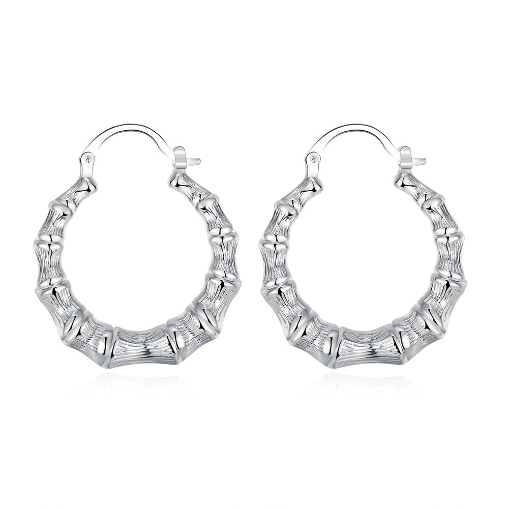 18K White Gold Plated Curved Abstract Hoops