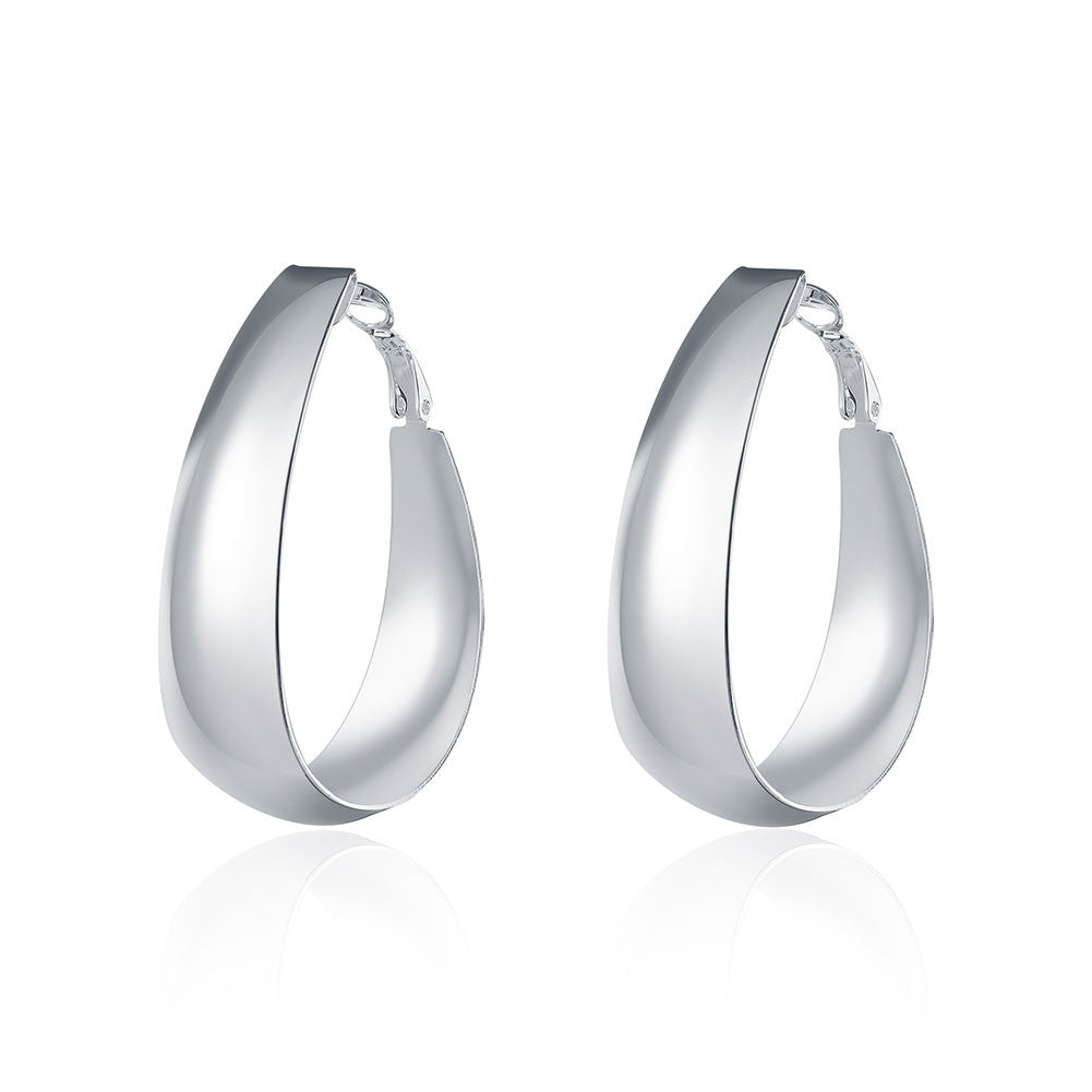 18K White Gold Plated Medium Sized Hoops