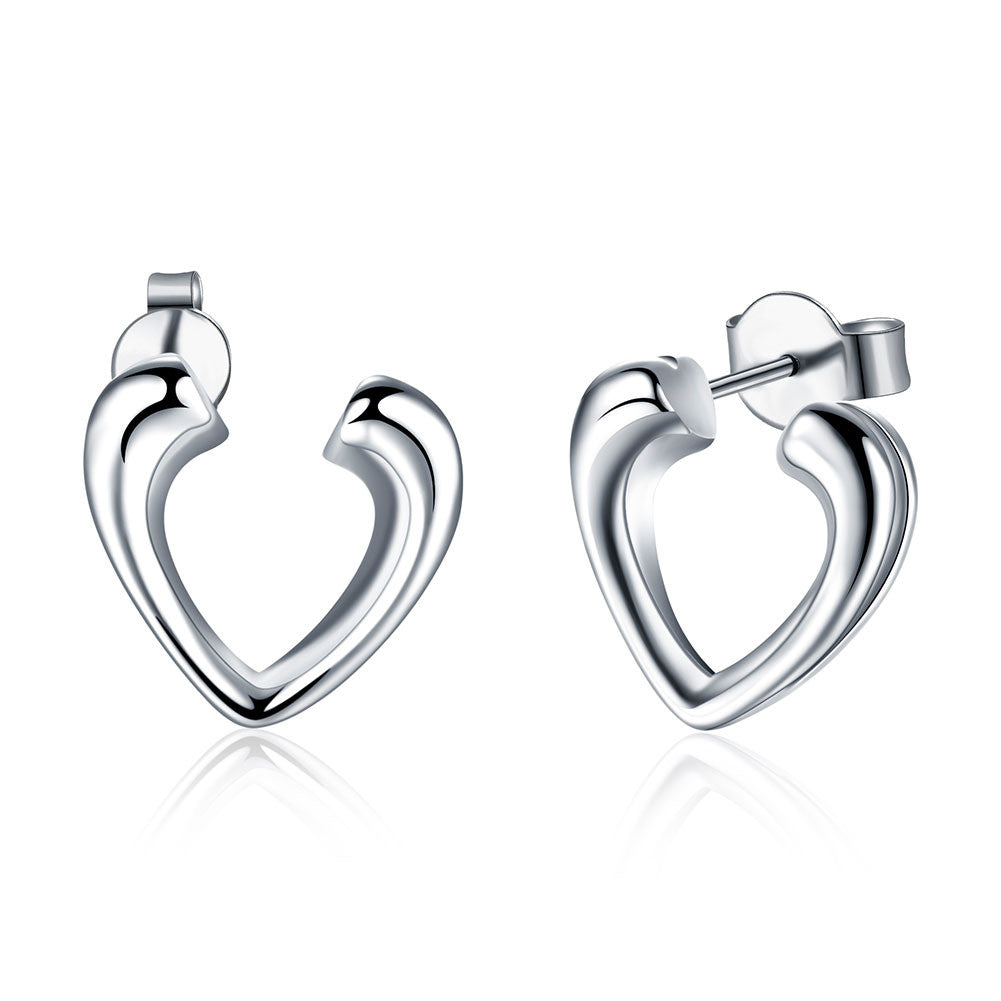 18K White Gold Plated Hollow Hearts Open-Clasp Studs