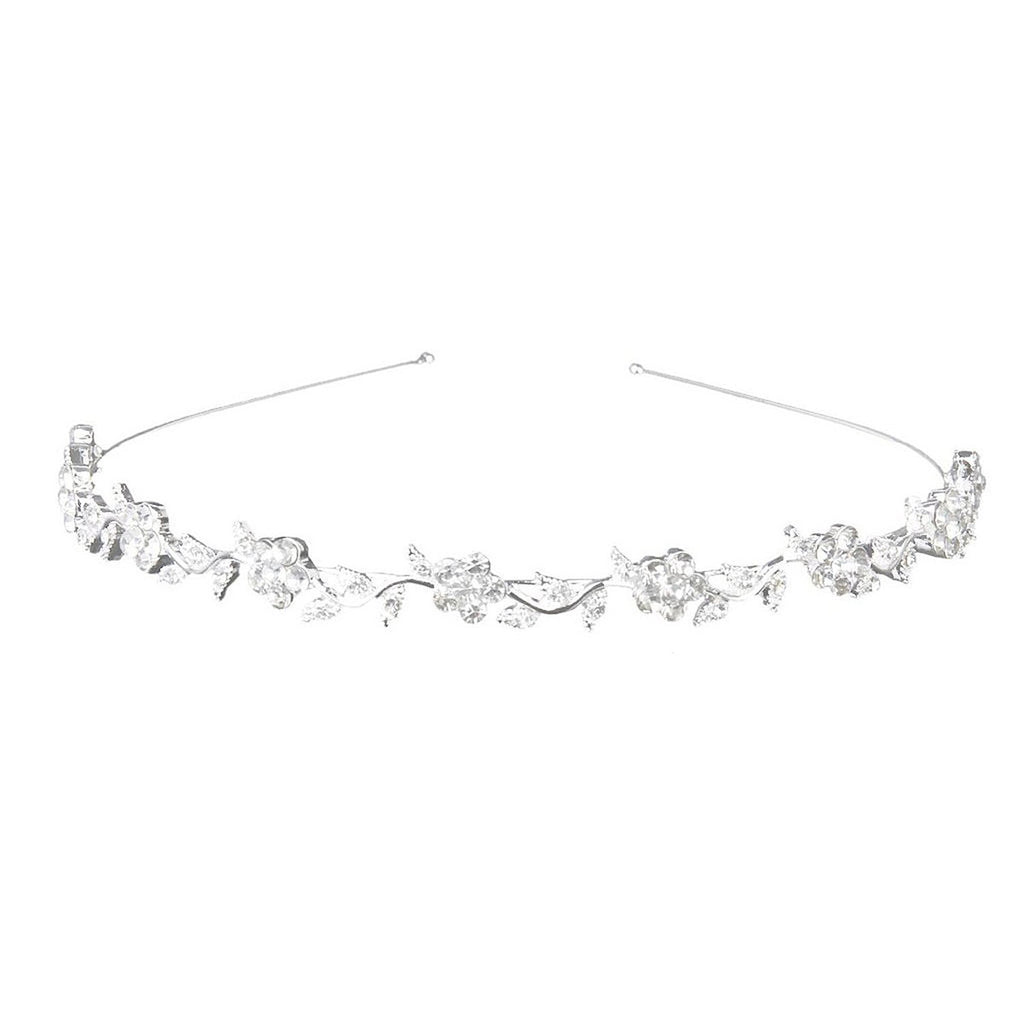 Wedding Women's Crystal Bridal Flower & Leaves Crown Headband Tiara Headdress
