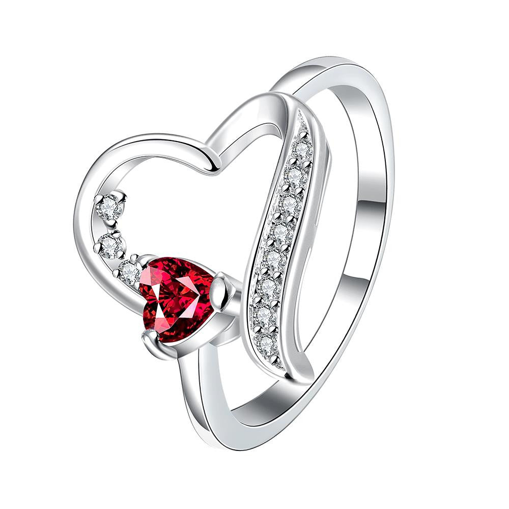 Silver Plated Fashion Heart Ring for Women Jewelry Accessories Nickle Free