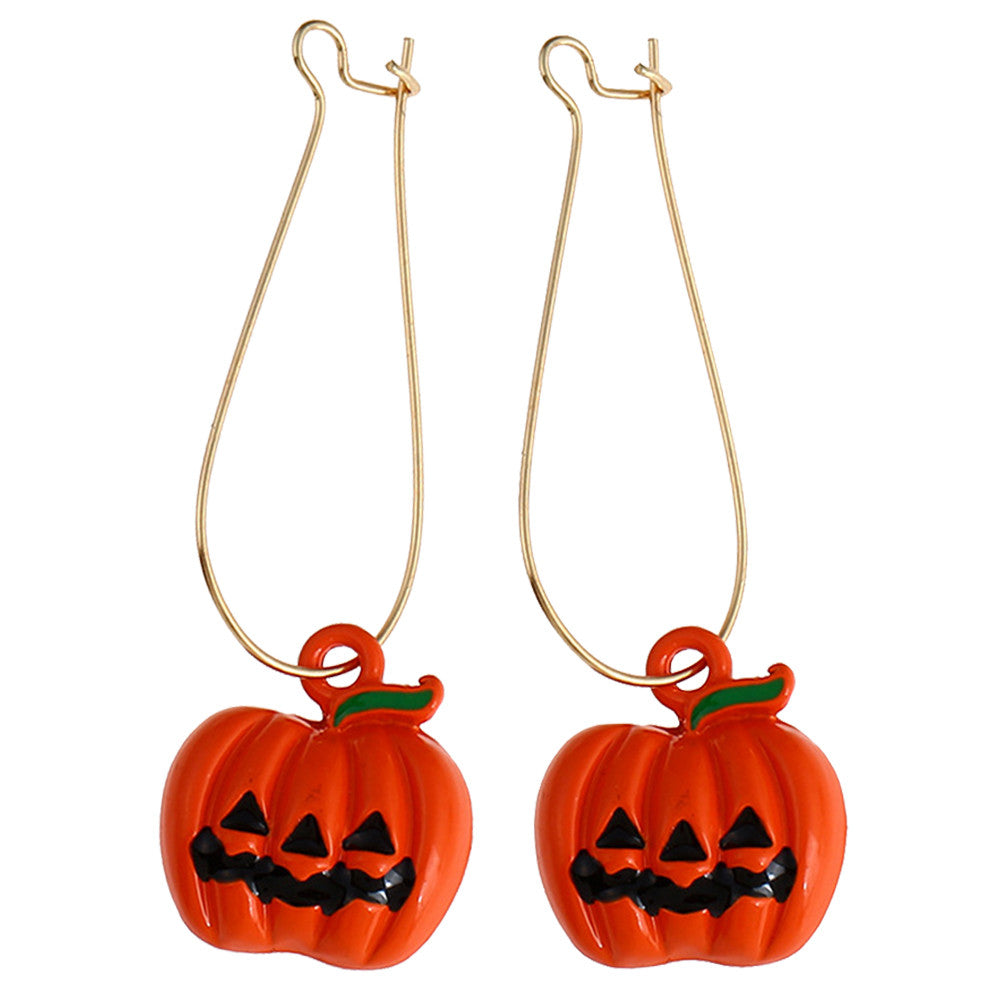 1Pair Halloween Earrings Pumpkin Pattern Creative Candy Color Hanging Pendants Festival Ear Rings