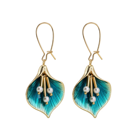 Drip Flower Earrings, With Pearl Tassel