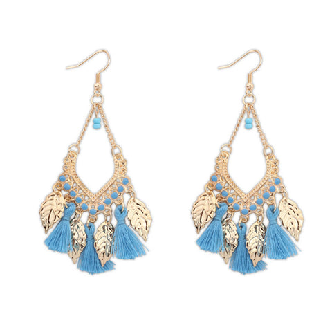 Bohemia Earings Fashion Jewelry Leaves Tassel Earrings Long Earring for Women