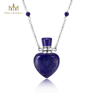 Aromatherapy Essential Oil Diffuser Necklace Lapis Lazuli Crystal Chakra Healing Pendant Necklace Bottle Pendant with 925 Sterling Silver Chain MELI&MOLI