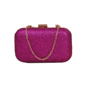 Fashion Women Clutch Box Evening Party Glitter Chain Hand Bags Wallet