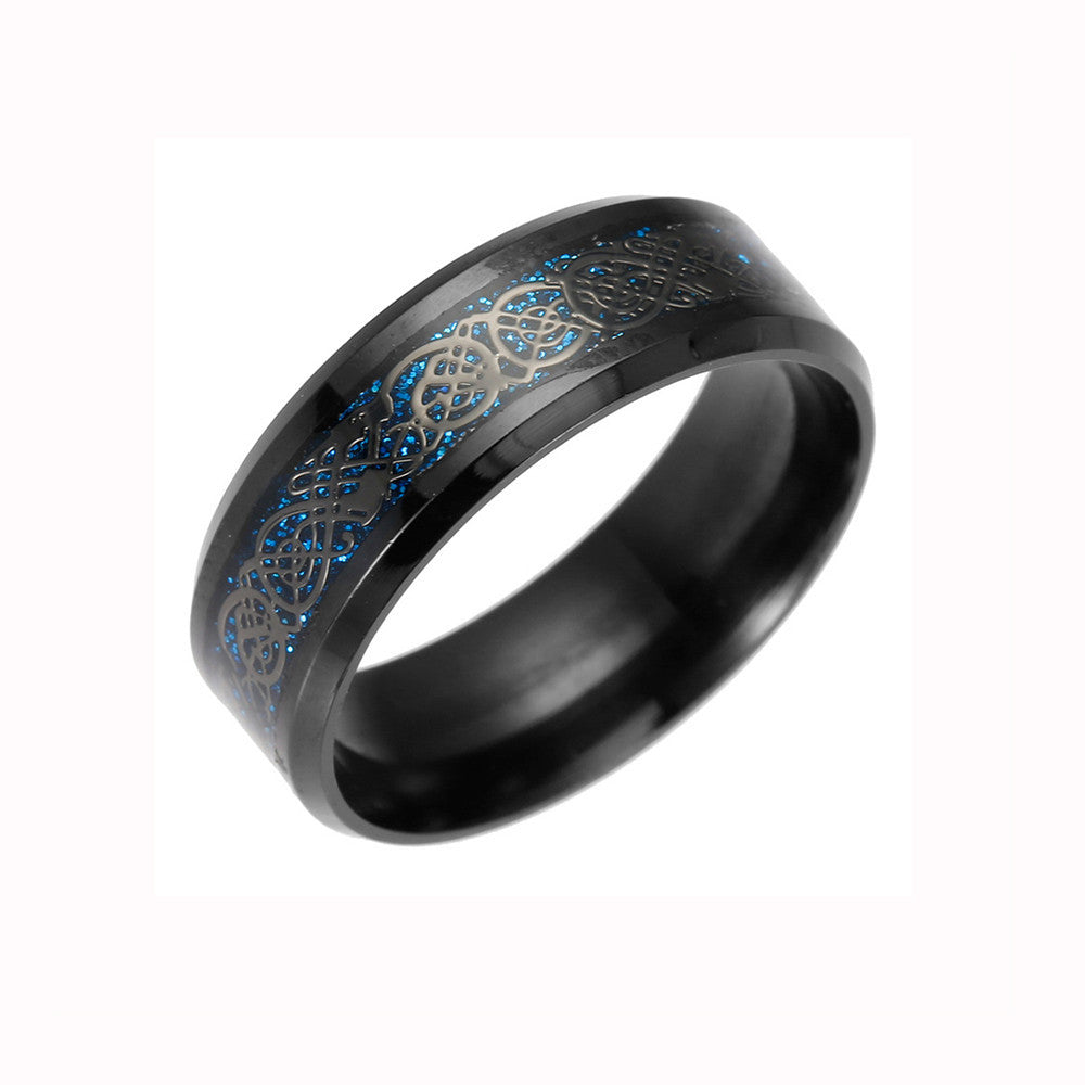 Titanium Steel Dragon Ring With Silver Golden Dragon Stainless Steel Ring