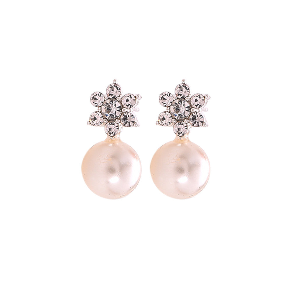 Classic Luxury Wedding Boucle D'oreille Charm Jewelry Elegant Crystal Flower Pearl Earrings