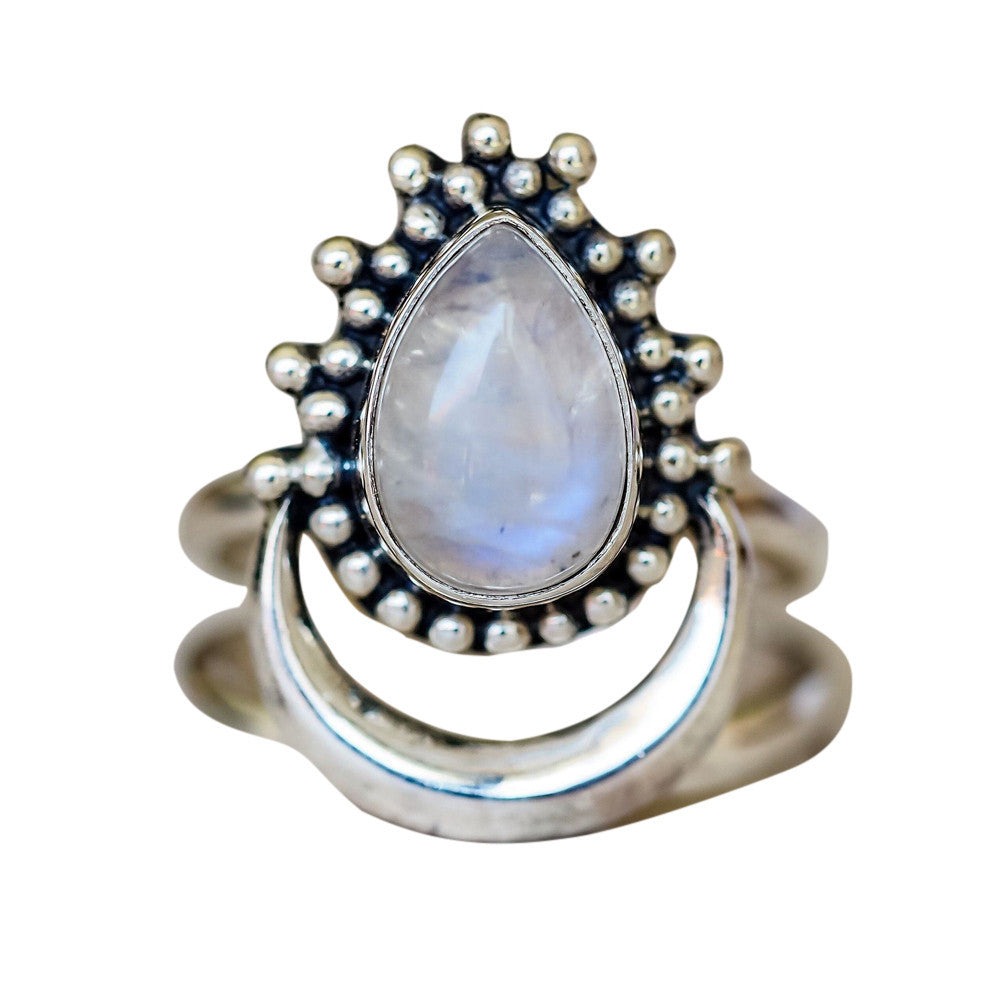1PC Boho Jewelry Silver Natural Gemstone Moon White Opal Personalized Ring